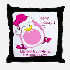 Personalize Pink Dancing Penguin Throw Pillow