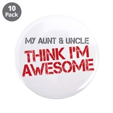 "Aunt and Uncle Awesome 3.5"" Button (10 pack)"