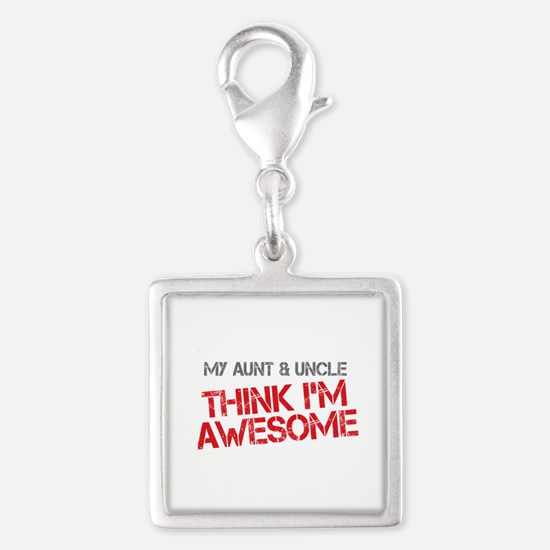 Aunt and Uncle Awesome Silver Square Charm