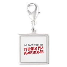 Baby Brother Awesome Silver Square Charm