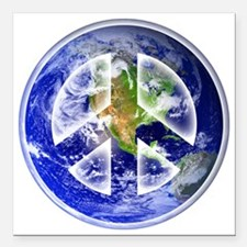 "Peace on Earth Square Car Magnet 3"" x 3"""