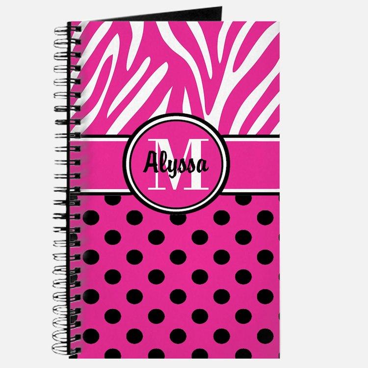 Pink Black Dot Zebra Persoanlized Journal