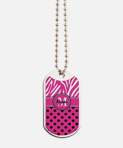 Pink Black Dot Zebra Persoanlized Dog Tags