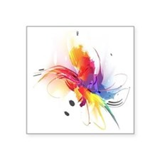 "Abstract Feathered Colors Square Sticker 3"" x 3"""