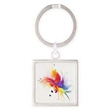 Abstract Feathered Colors Square Keychain