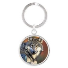 Wolf Wolves Lovers Round Keychain
