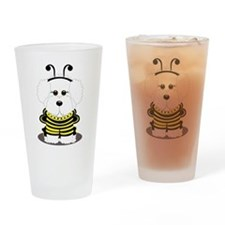 Bichon Frise Bumble Bee Drinking Glass