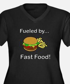 Fueled by Fa Women's Plus Size V-Neck Dark T-Shirt