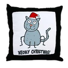 Meowy Christmas Christmas Cat Throw Pillow