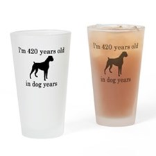 60 birthday dog years boxer Drinking Glass