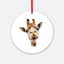 Funny Smiling Giraffe Round Ornament