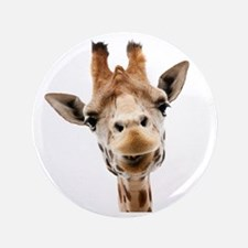 "Funny Smiling Giraffe 3.5"" Button"