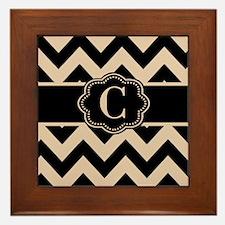 Beige Black Chevron Monogram Framed Tile