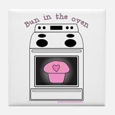 """""""Bun in the oven"""" Pink Tile Coaster"""