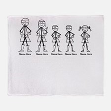 Super Family 2 Boys 1 Girl Throw Blanket