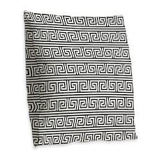 Black and White Greek Key Print Pattern Burlap Thr