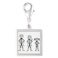 Super Family 1 Girl Silver Square Charm
