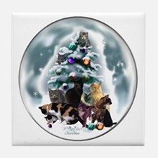 Cat Lovers Christmas Tile Coaster