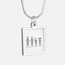 Super Family 1 Boy 1 Girl Silver Square Necklace