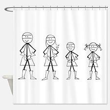 Super Family 1 Boy 1 Girl Shower Curtain