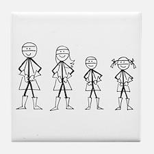 Super Family 1 Boy 1 Girl Tile Coaster