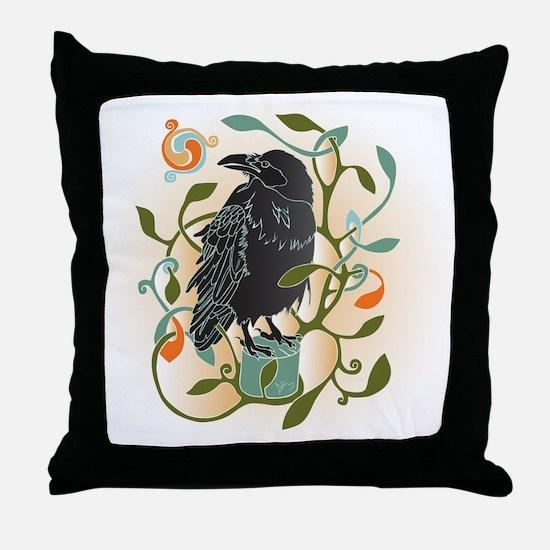 Celtic Crow Throw Pillow