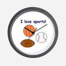 I LOVE SPORTS Wall Clock