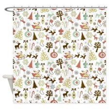 Retro Christmas Pattern Shower Curtain