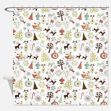 Retro Christmas Pattern Shower Curtain