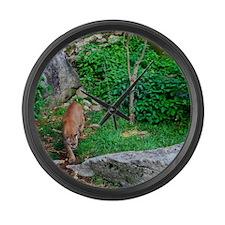 Grandfather Mountain Cougar I Large Wall Clock