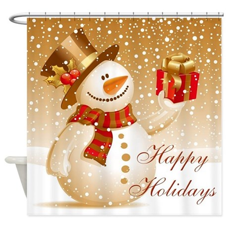 Happy Holidays Golden Snowman Shower Curtain By Nature Tees