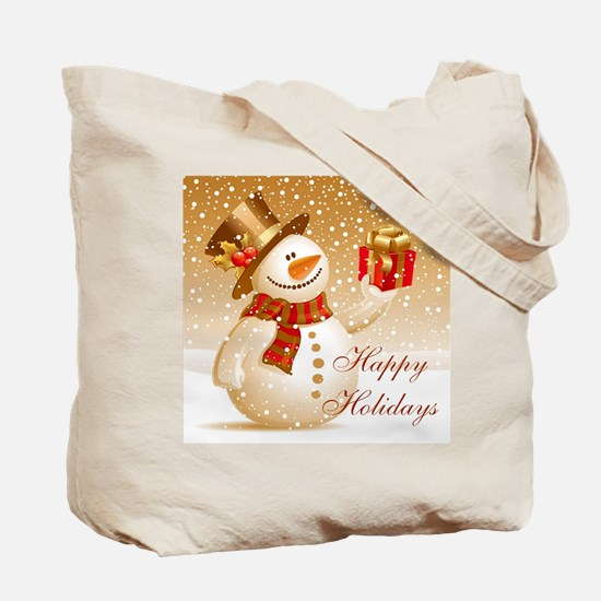 Happy Holidays Golden Snowman Tote Bag