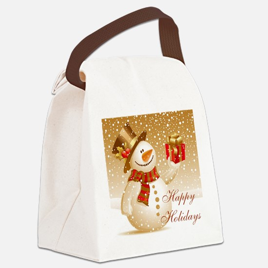 Happy Holidays Golden Snowman Canvas Lunch Bag