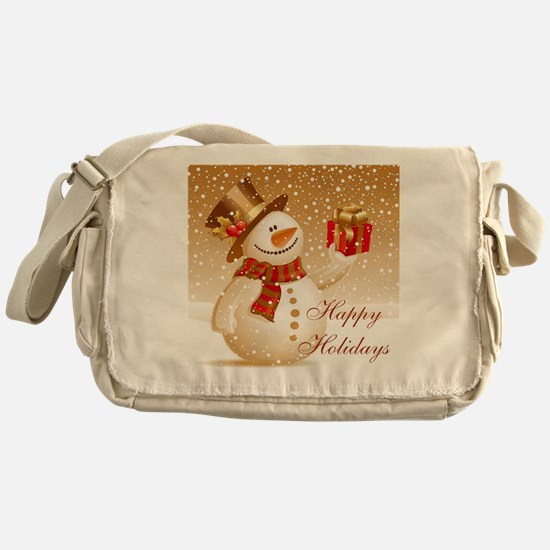 Happy Holidays Golden Snowman Messenger Bag
