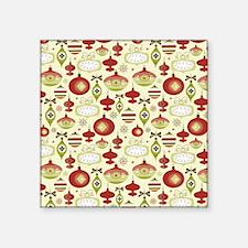 """Retro Christmas Ornaments Square Sticker 3"""" x 3"""""""