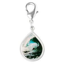 Hawaiian Tropics Silver Teardrop Charm