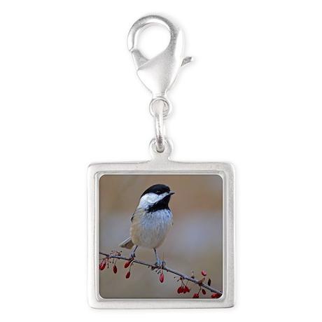 Chickadee on limb 2 Silver Square Charm