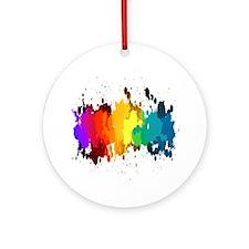 Rainbow Splatter Ornament (Round)