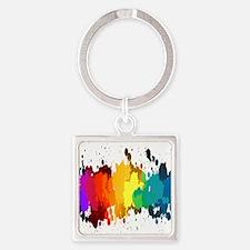Rainbow Splatter Keychains