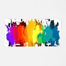 Rainbow Splatter Aluminum License Plate