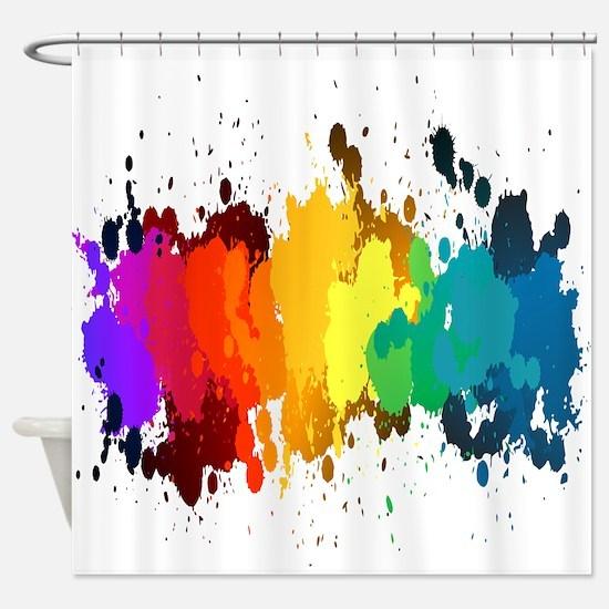 Rainbow Splatter Shower Curtain