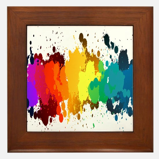 Rainbow Splatter Framed Tile