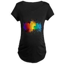 Rainbow Splatter Maternity T-Shirt