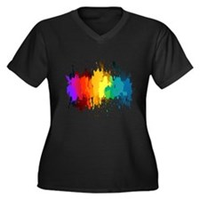Rainbow Splatter Plus Size T-Shirt