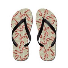 Christmas Candy Cane Gift Vintage Flip Flops