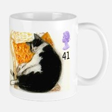 1995 Great Britain Sleeping Cat Postage Stamp Mugs