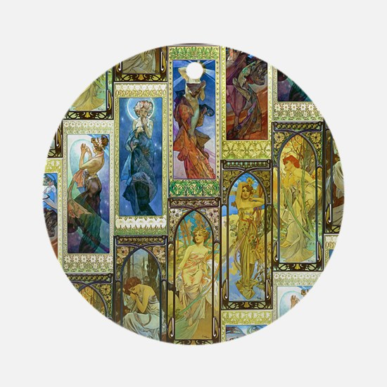 Mucha's Night and Day Ornament (Round)