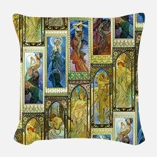 Mucha's Night and Day Woven Throw Pillow