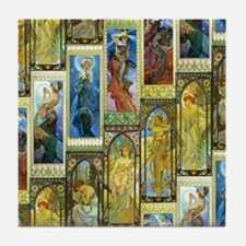 Mucha's Night and Day Tile Coaster