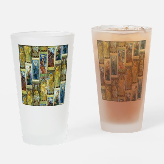 Mucha's Night and Day Drinking Glass